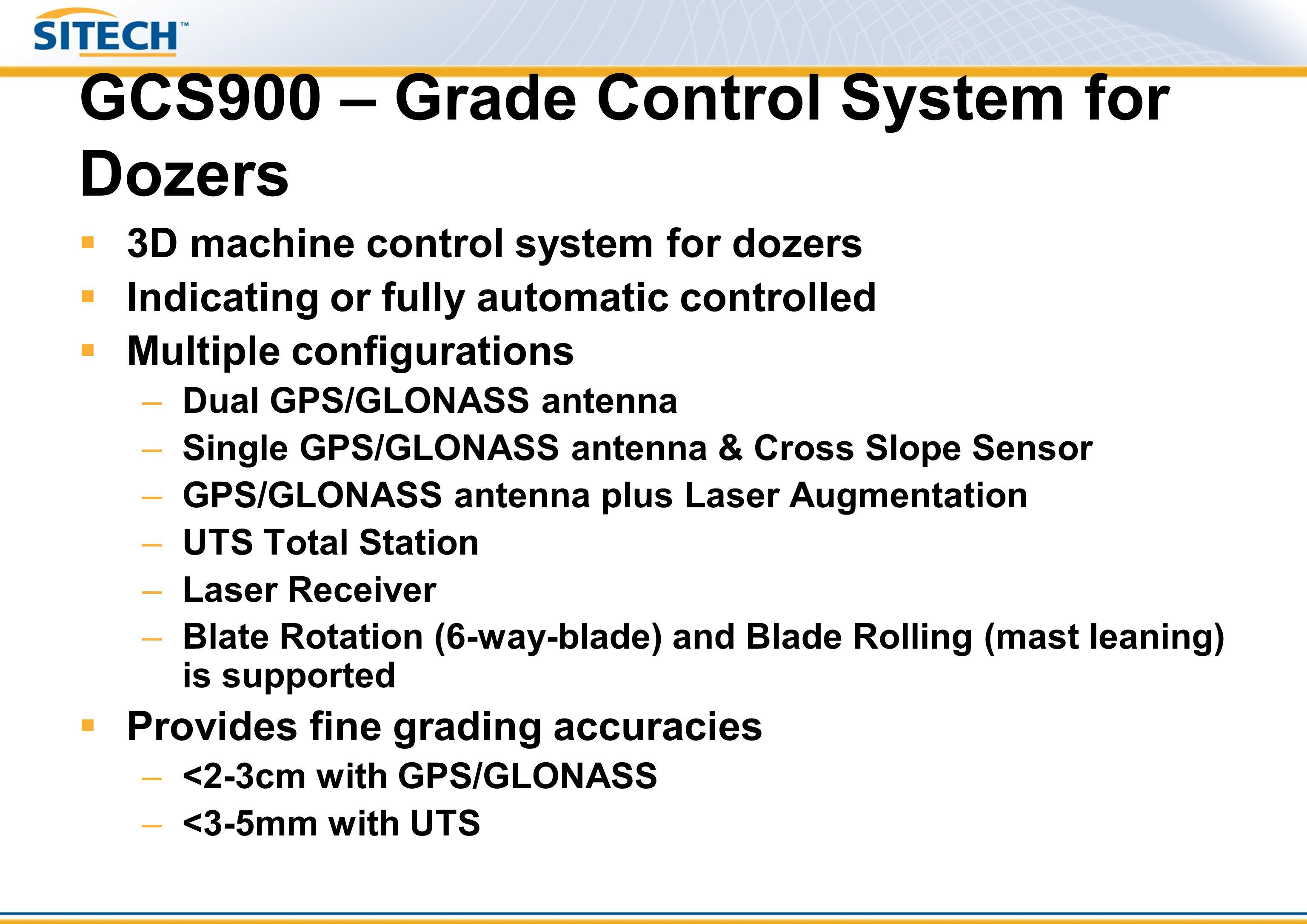 Trimble GCS900: 3D Dozer – UTS & Cross-slope Harness Power Module PM400 Valve Module VM4X0 Crossfall Sensor AS400 Rotation Sensor RS400 (optional for blade rotation) Mainfall Sensor AS400 (optional for blade rolling) CB430 LB400 SNRSNM930 or MT900