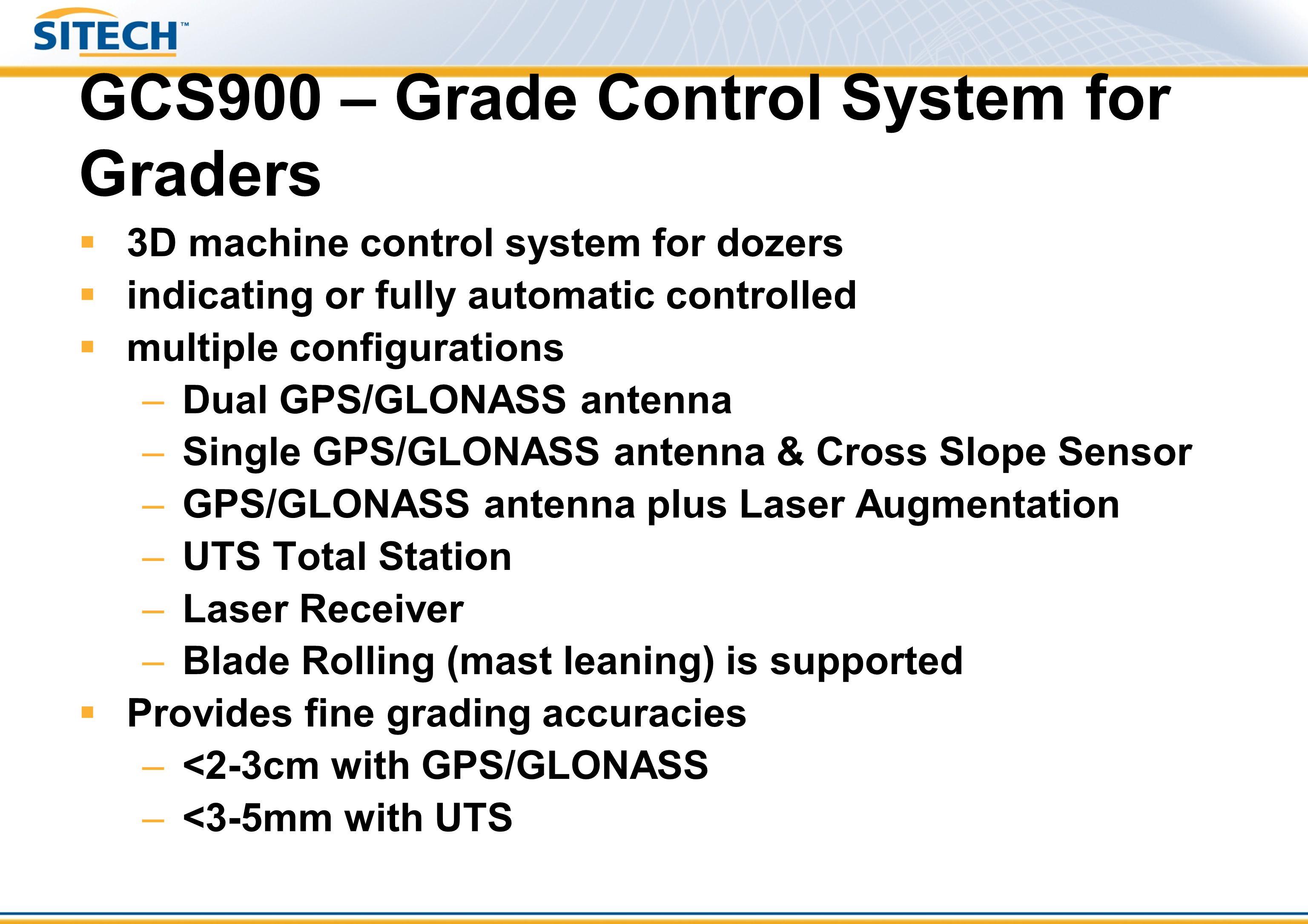 Trimble GCS900: 3D Grader – UTS & Cross-slope Harness MT900SNRST400 (opt) Power Module PM400 Valve Module VM4X0 Mainfall Sensor AS400 Crossfall Sensor AS400 Rotation Sensor RS400 Mainfall Sensor AS400 (optional for blade rolling) CB430 LB400 SNM930 or