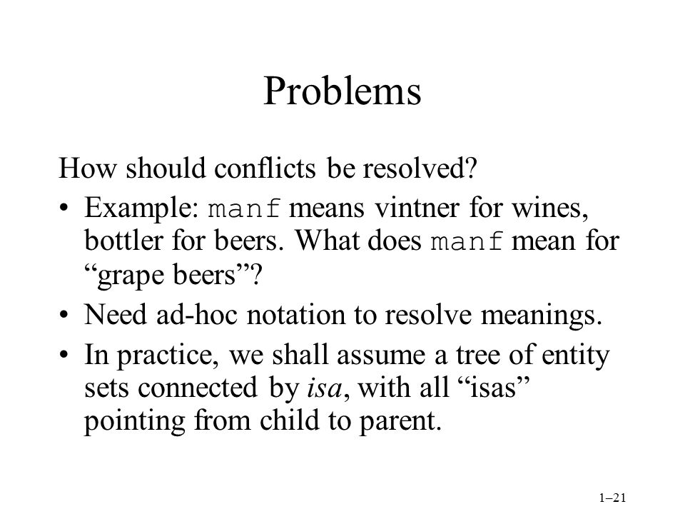 1–21 Problems How should conflicts be resolved.