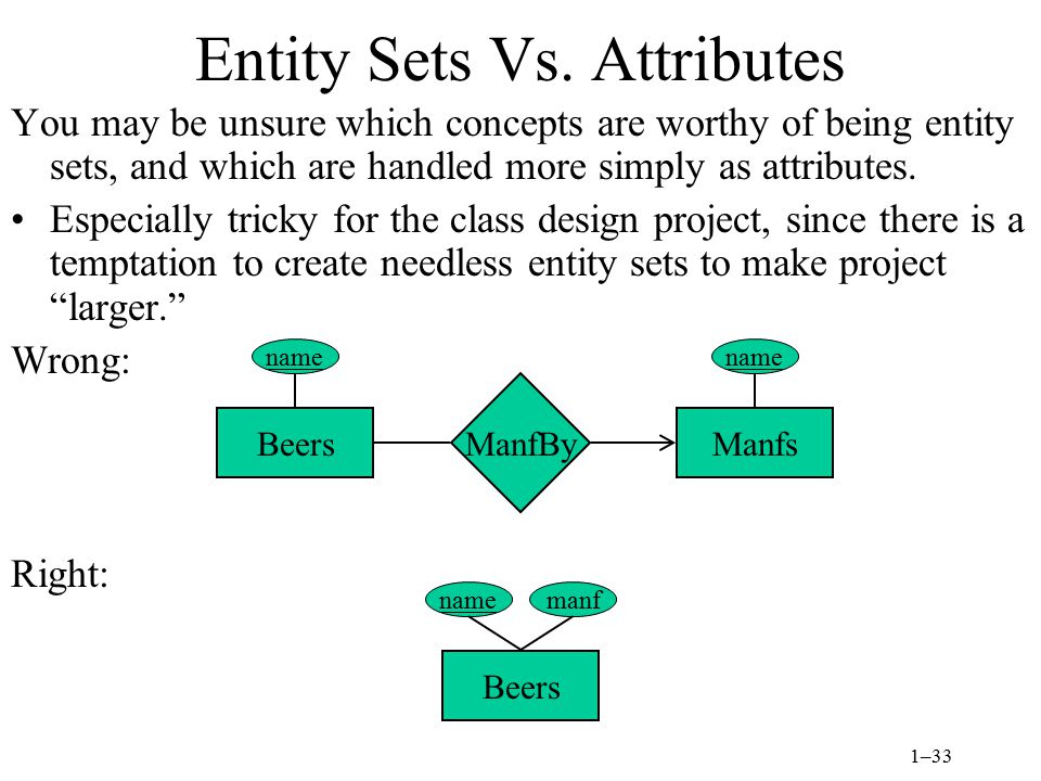 1–33 Entity Sets Vs.