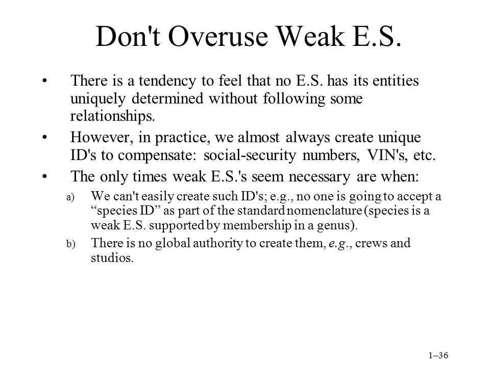 1–36 Don t Overuse Weak E.S. There is a tendency to feel that no E.S.