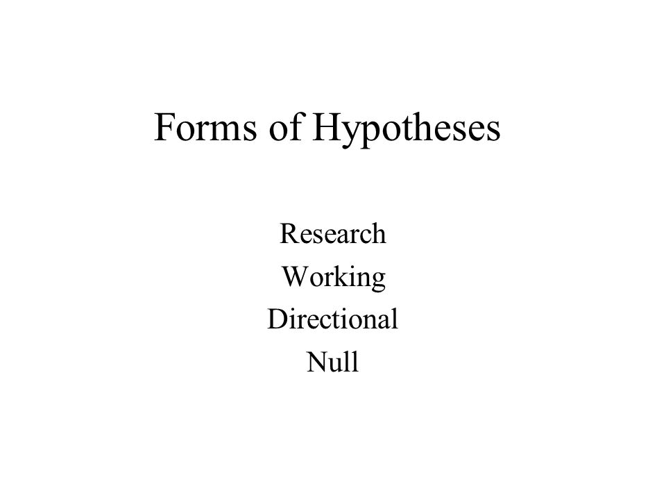Forms of Hypotheses Research Working Directional Null