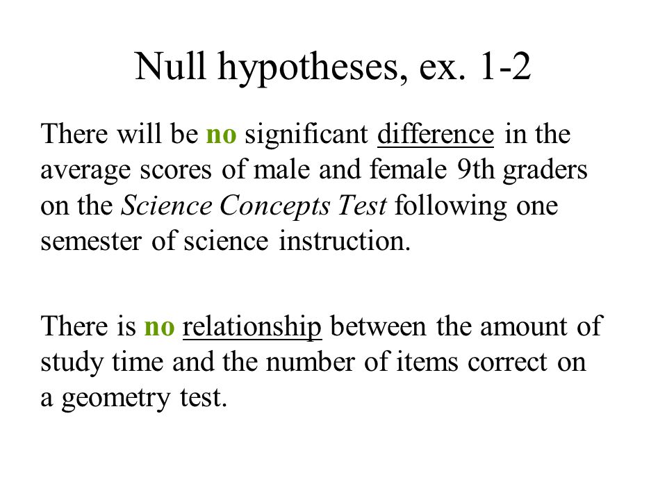 Null hypotheses, ex.