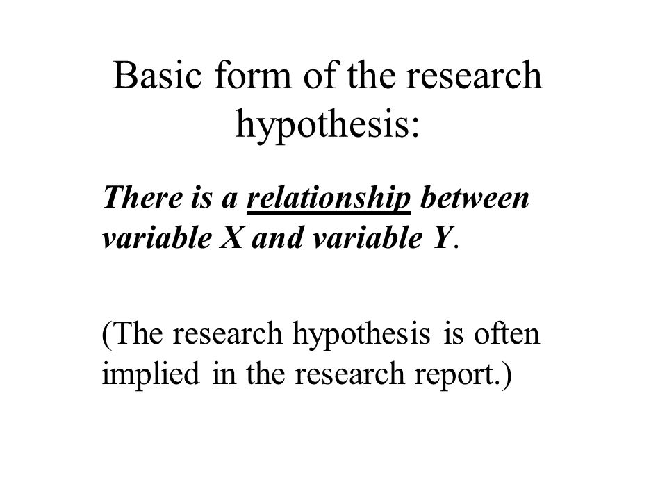 Basic form of the research hypothesis: There is a relationship between variable X and variable Y.