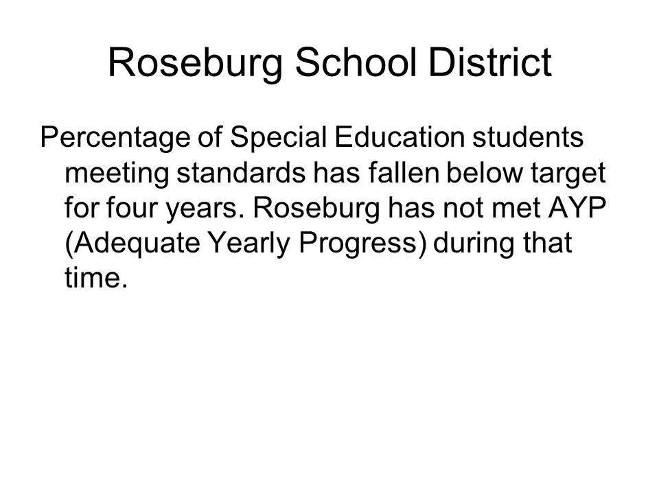 Roseburg School District Percentage of Special Education students meeting standards has fallen below target for four years.