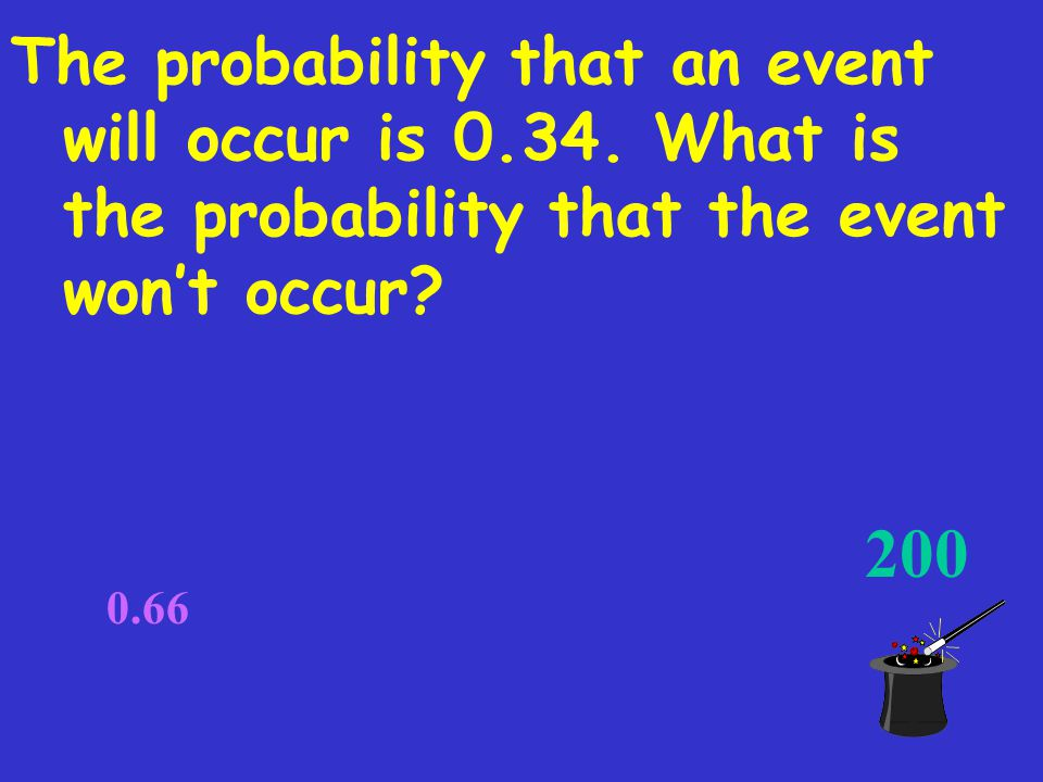 When it is certain to happen. 100 When is the probability of an event 1
