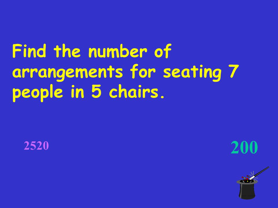 Find the number of arrangements for seating 7 people in 5 chairs. 200 2520