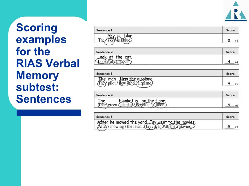 Scoring examples for the RIAS Verbal Memory subtest: Sentences