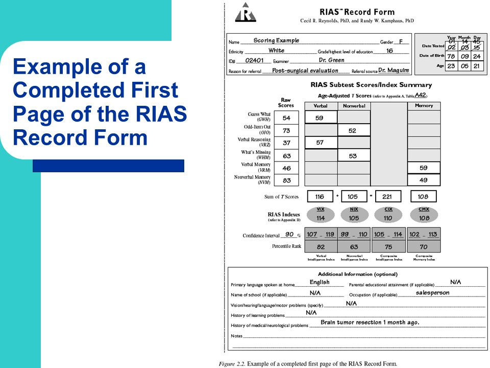 Example of a Completed First Page of the RIAS Record Form