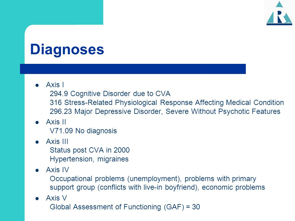 Diagnoses Axis I 294.9 Cognitive Disorder due to CVA 316 Stress-Related Physiological Response Affecting Medical Condition 296.23 Major Depressive Dis