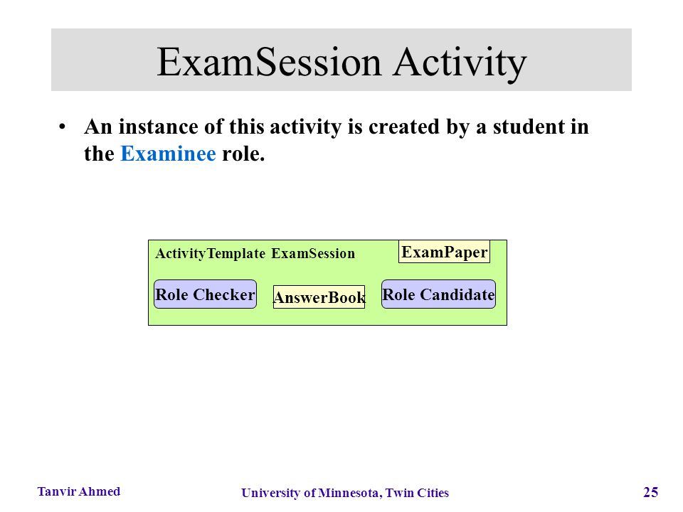 25 University of Minnesota, Twin Cities Tanvir Ahmed ExamSession Activity An instance of this activity is created by a student in the Examinee role. A