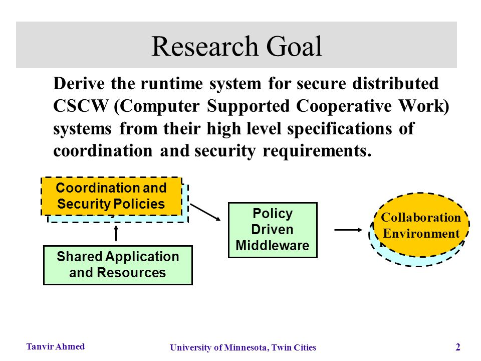 2 University of Minnesota, Twin Cities Tanvir Ahmed Research Goal Derive the runtime system for secure distributed CSCW (Computer Supported Cooperativ