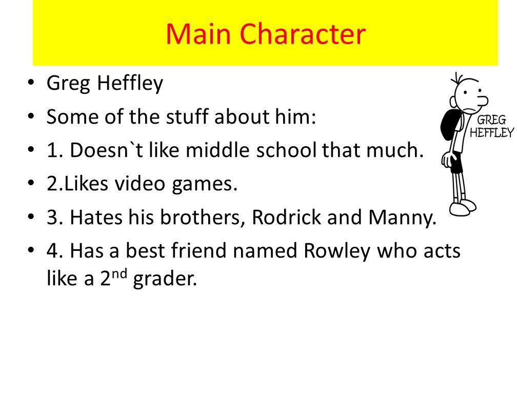 Main Character Greg Heffley Some of the stuff about him: 1.