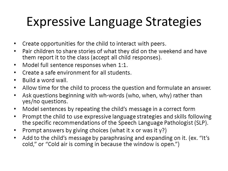 Expressive Language Strategies Create opportunities for the child to interact with peers.