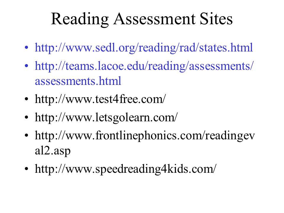 Reading Assessment Sites http://www.sedl.org/reading/rad/states.html http://teams.lacoe.edu/reading/assessments/ assessments.html http://www.test4free