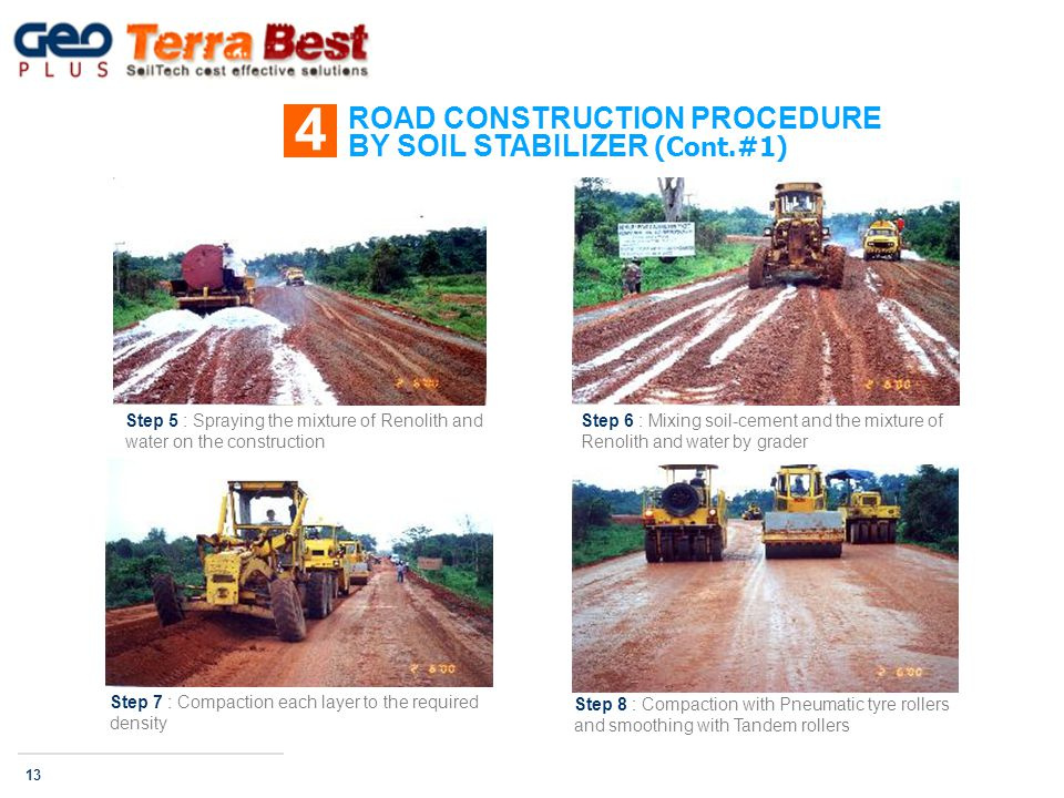 ROAD CONSTRUCTION PROCEDURE BY SOIL STABILIZER (Cont.#1) 4 13 Step 5 : Spraying the mixture of Renolith and water on the construction Step 6 : Mixing soil-cement and the mixture of Renolith and water by grader Step 7 : Compaction each layer to the required density Step 8 : Compaction with Pneumatic tyre rollers and smoothing with Tandem rollers