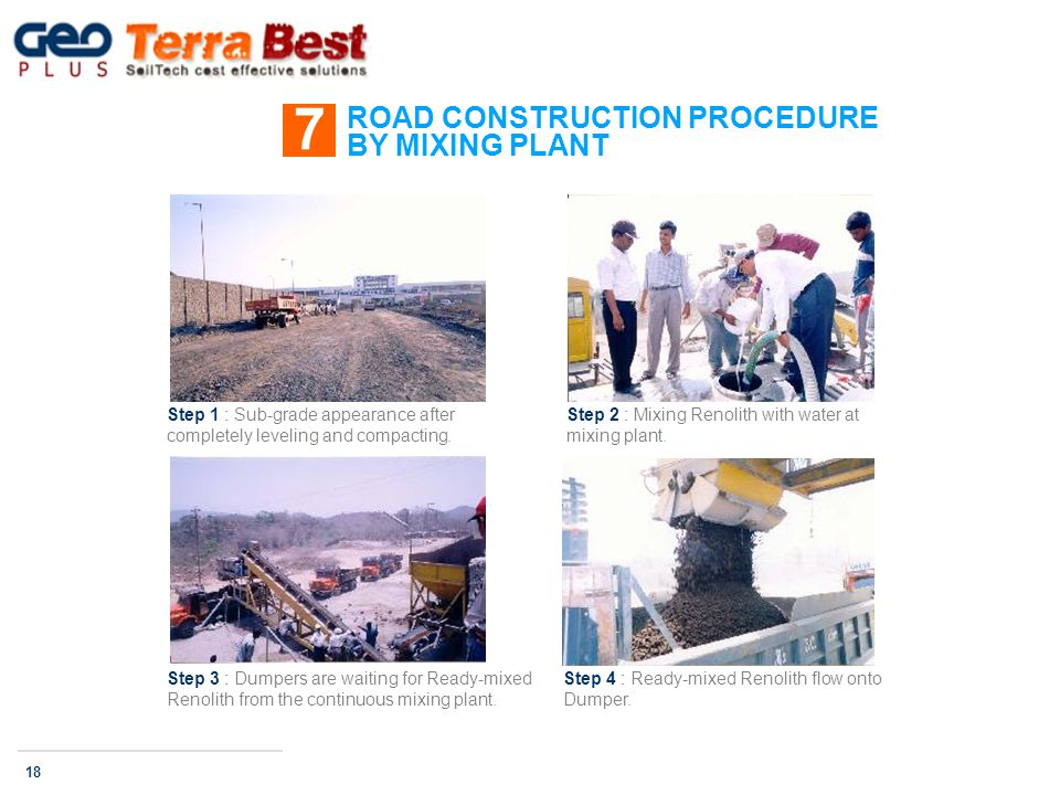 ROAD CONSTRUCTION PROCEDURE BY MIXING PLANT 7 18 Step 1 : Sub-grade appearance after completely leveling and compacting.