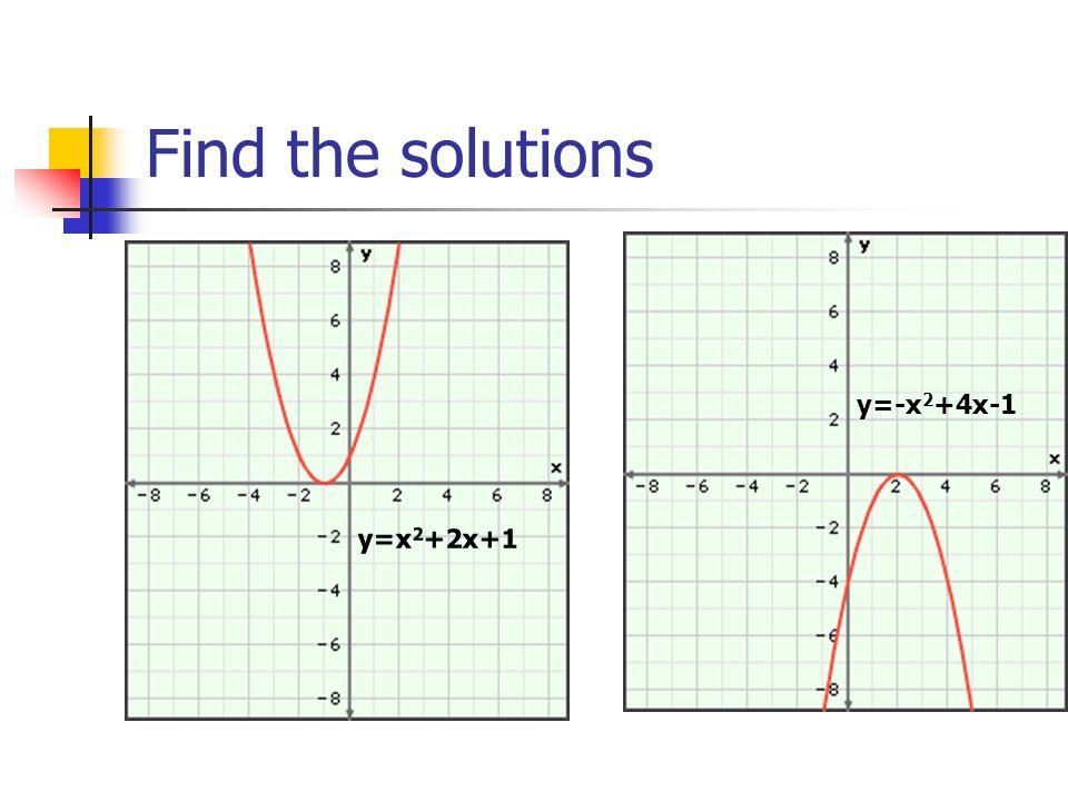 Find the solutions y=x 2 +2x+1 y=-x 2 +4x-1