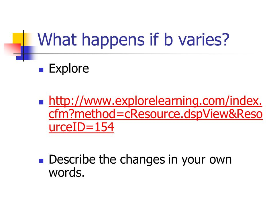 What happens if b varies. Explore http://www.explorelearning.com/index.