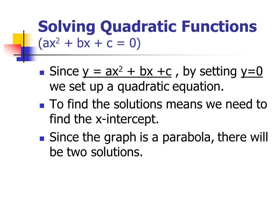 Solving Quadratic Functions (ax 2 + bx + c = 0) Since y = ax 2 + bx +c, by setting y=0 we set up a quadratic equation.