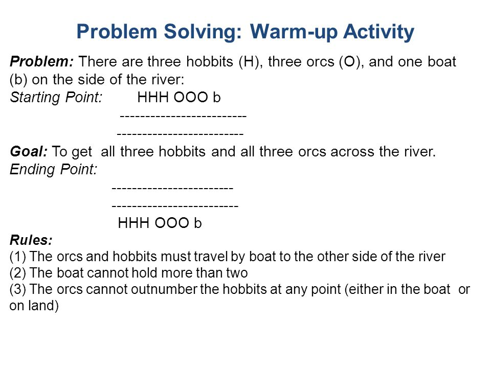 Problem Solving: Warm-up Activity Problem: There are three hobbits (H), three orcs (O), and one boat (b) on the side of the river: Starting Point: HHH OOO b ------------------------- Goal: To get all three hobbits and all three orcs across the river.