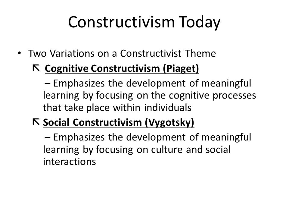Constructivism Today Two Variations on a Constructivist Theme  Cognitive Constructivism (Piaget) – Emphasizes the development of meaningful learning by focusing on the cognitive processes that take place within individuals  Social Constructivism (Vygotsky) – Emphasizes the development of meaningful learning by focusing on culture and social interactions