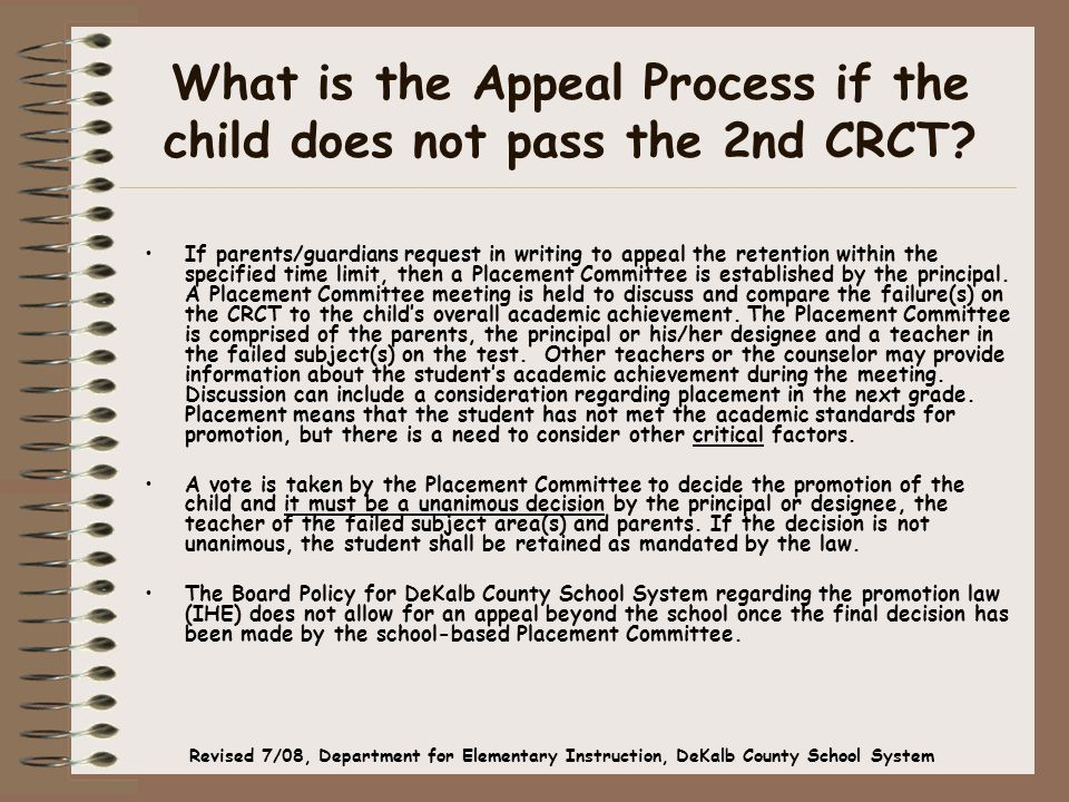 What is the Appeal Process if the child does not pass the 2nd CRCT.