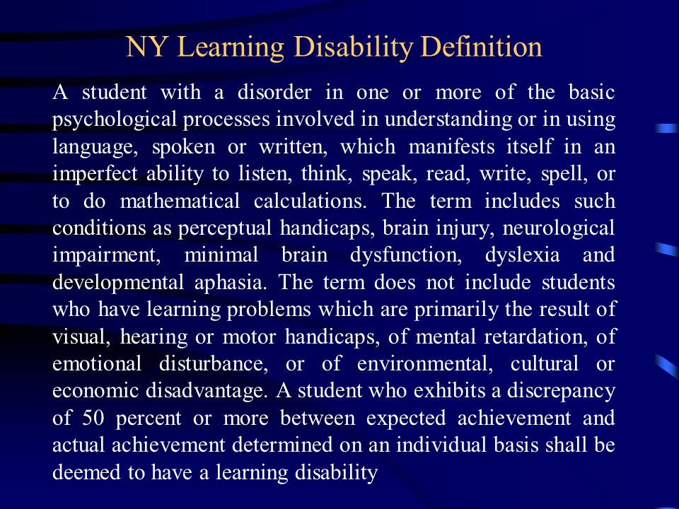 IDEA s Definition of Learning Disability ...