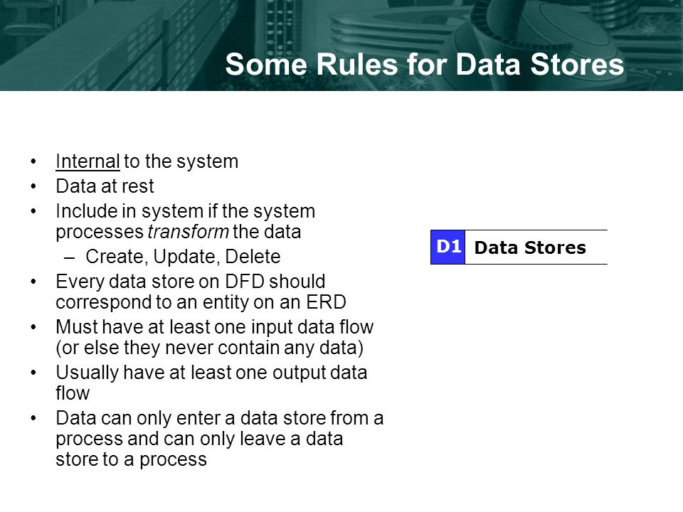 Some Rules for Data Stores Internal to the system Data at rest Include in system if the system processes transform the data –Create, Update, Delete Every data store on DFD should correspond to an entity on an ERD Must have at least one input data flow (or else they never contain any data) Usually have at least one output data flow Data can only enter a data store from a process and can only leave a data store to a process Data Stores D1