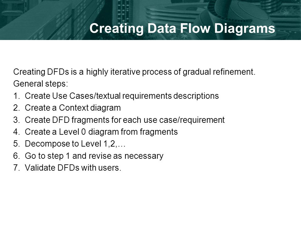 Creating Data Flow Diagrams Creating DFDs is a highly iterative process of gradual refinement.