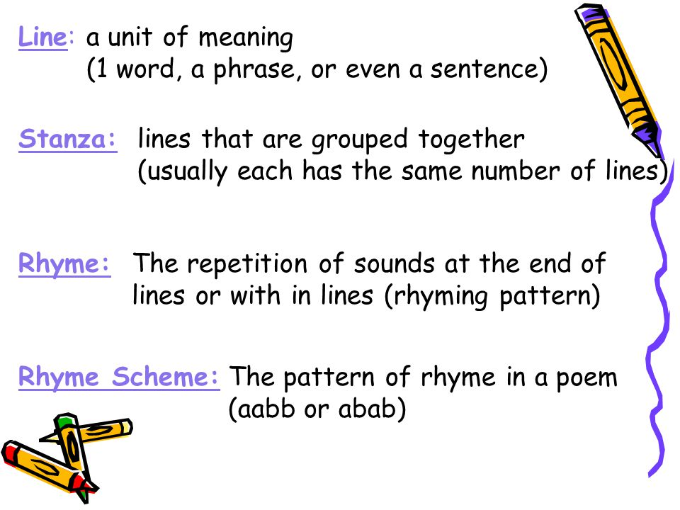 Line:a unit of meaning (1 word, a phrase, or even a sentence) Stanza:lines that are grouped together (usually each has the same number of lines) Rhyme:The repetition of sounds at the end of lines or with in lines (rhyming pattern) Rhyme Scheme:The pattern of rhyme in a poem (aabb or abab)