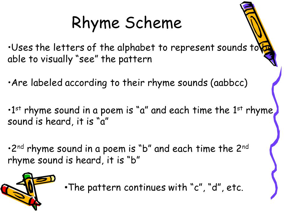 Rhyme Scheme Uses the letters of the alphabet to represent sounds to be able to visually see the pattern Are labeled according to their rhyme sounds (aabbcc) 1 st rhyme sound in a poem is a and each time the 1 st rhyme sound is heard, it is a 2 nd rhyme sound in a poem is b and each time the 2 nd rhyme sound is heard, it is b The pattern continues with c , d , etc.