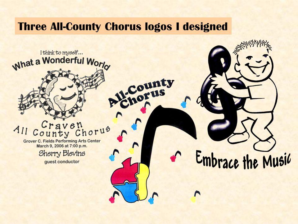 Three All-County Chorus logos I designed