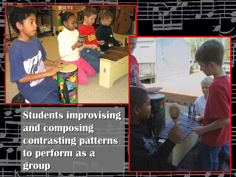 Student using a pentatonic scale to create ostinati to accompany songs