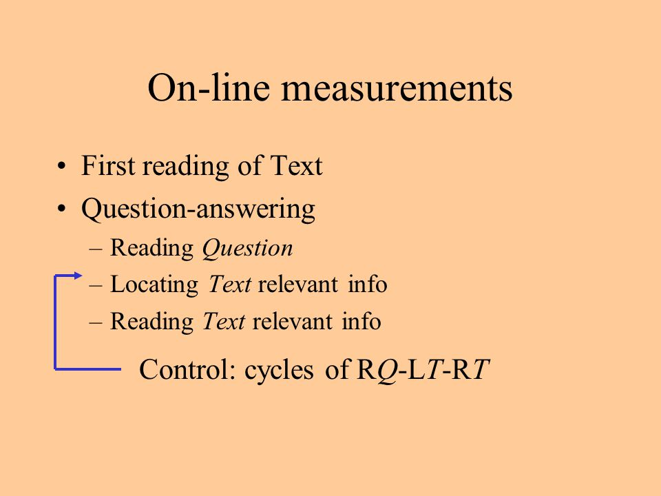 On-line measurements First reading of Text Question-answering –Reading Question –Locating Text relevant info –Reading Text relevant info Control: cycles of RQ-LT-RT