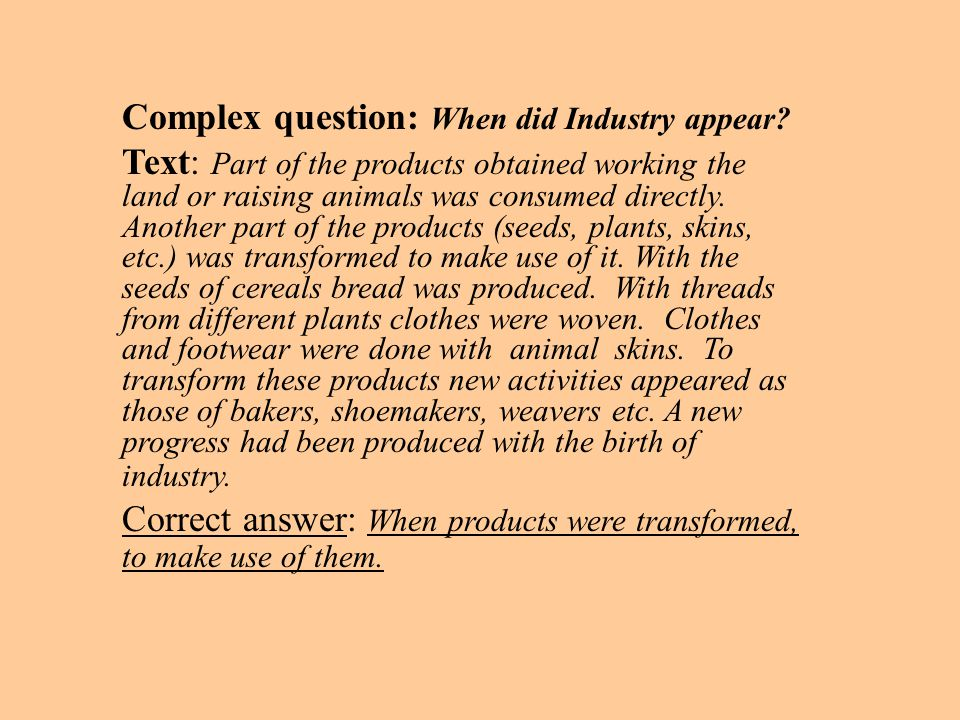 Complex question: When did Industry appear.