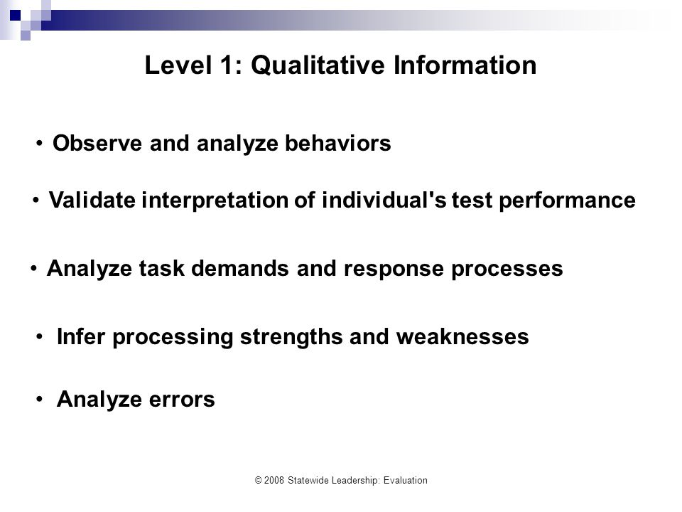 © 2008 Statewide Leadership: Evaluation Observe and analyze behaviors Validate interpretation of individual's test performance Analyze task demands an