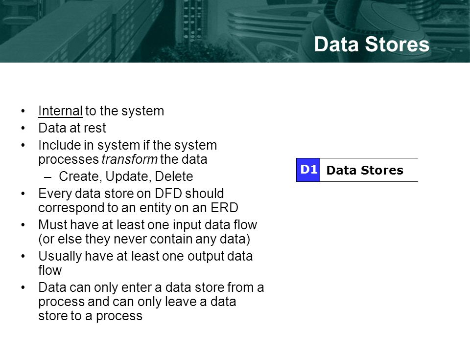 Data Stores Internal to the system Data at rest Include in system if the system processes transform the data –Create, Update, Delete Every data store on DFD should correspond to an entity on an ERD Must have at least one input data flow (or else they never contain any data) Usually have at least one output data flow Data can only enter a data store from a process and can only leave a data store to a process Data Stores D1