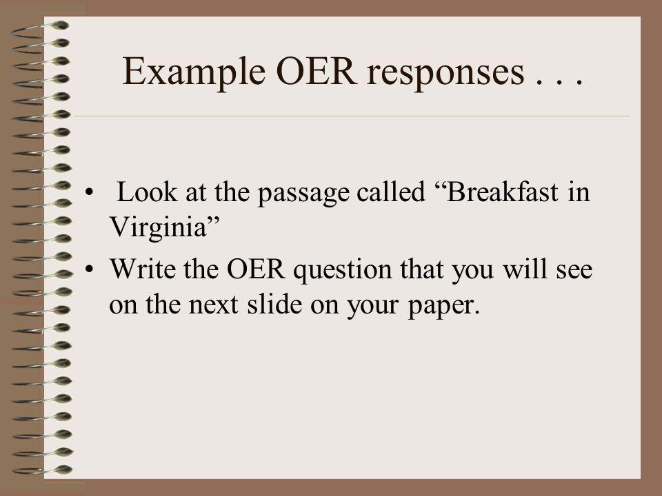 Example OER responses...