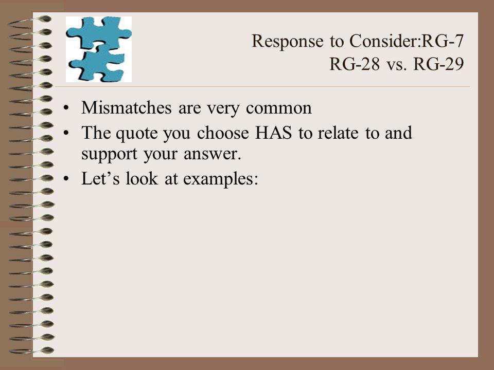 Response to Consider:RG-7 RG-28 vs.