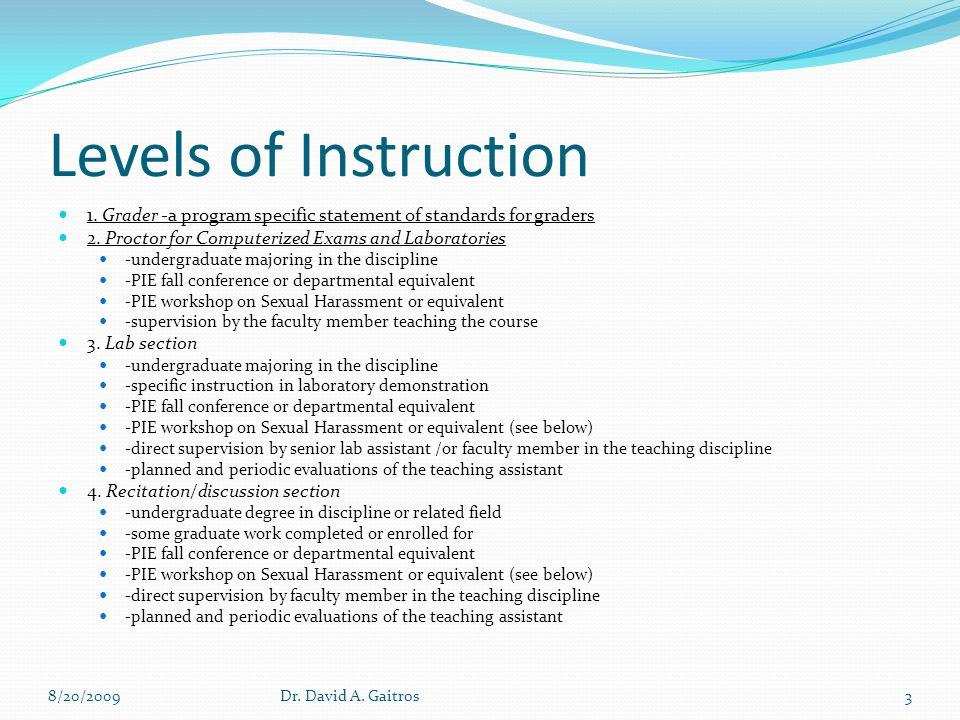 Levels of Instruction 5.