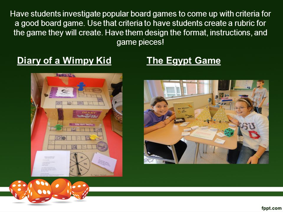 Have students investigate popular board games to come up with criteria for a good board game. Use that criteria to have students create a rubric for t
