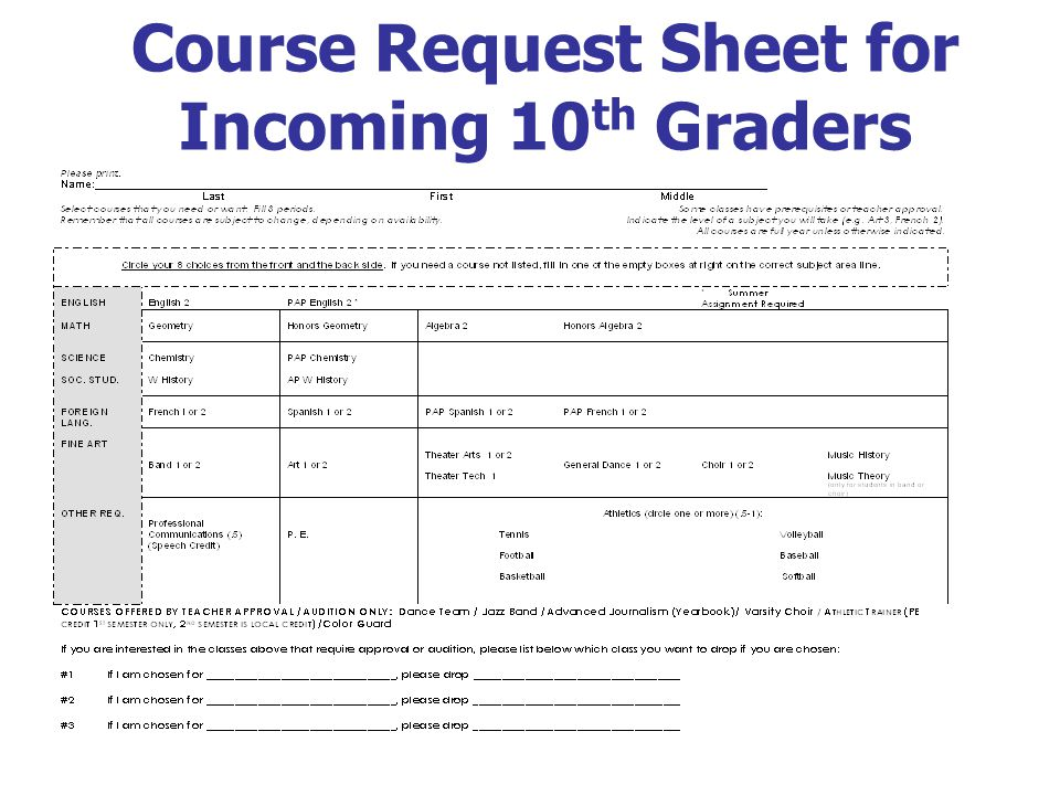 Course Request Sheet for Incoming 10 th Graders