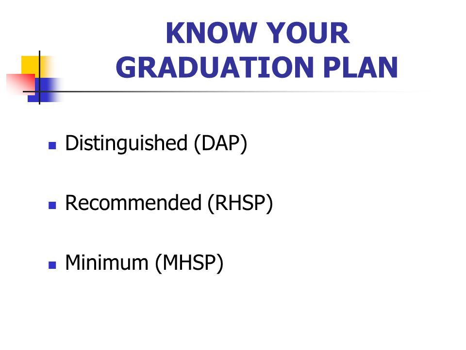 KNOW YOUR GRADUATION PLAN Distinguished (DAP) Recommended (RHSP) Minimum (MHSP)
