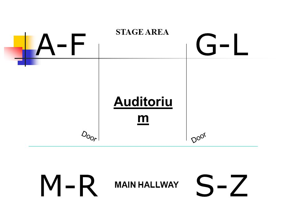 A-F M-RS-Z G-L STAGE AREA Door MAIN HALLWAY Auditoriu m