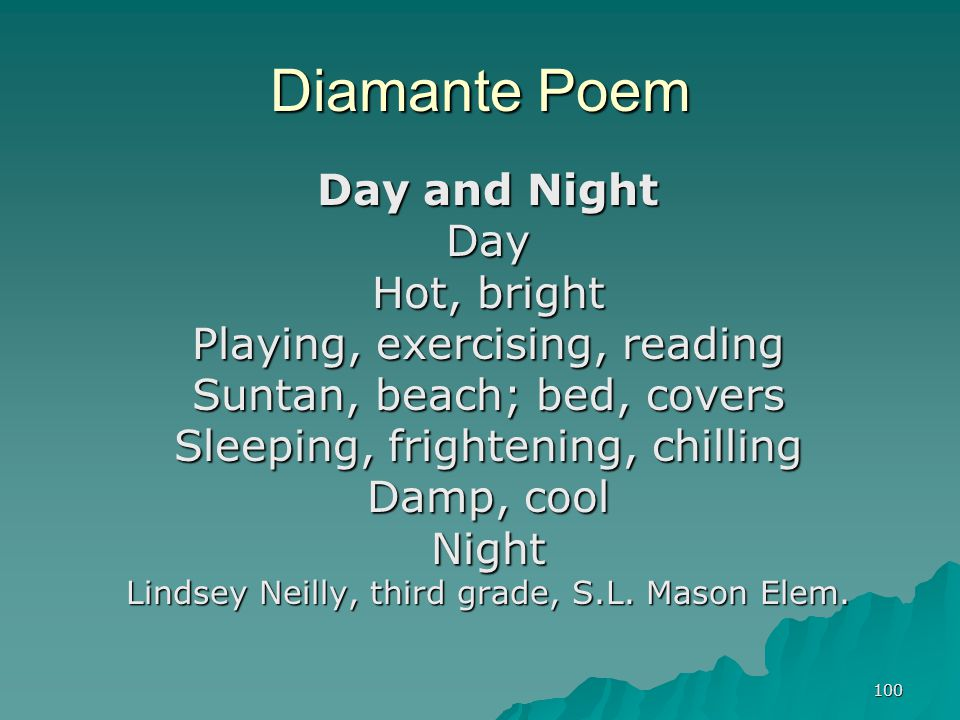 100 Diamante Poem Day and Night Day Hot, bright Playing, exercising, reading Suntan, beach; bed, covers Sleeping, frightening, chilling Damp, cool Nig