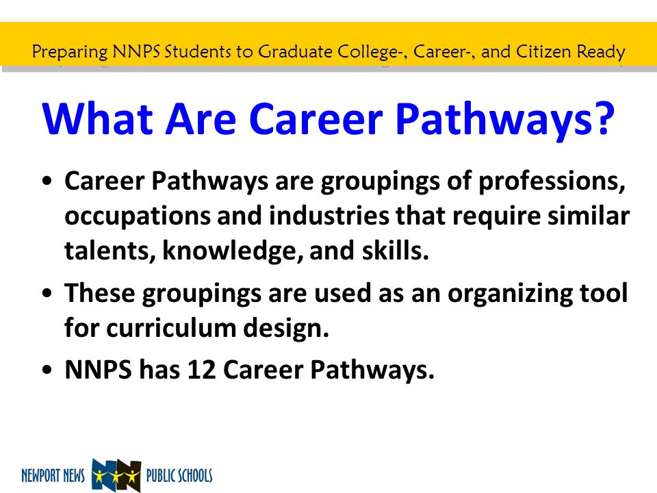 Preparing NNPS Students to Graduate College-, Career-, and Citizen Ready What Are Career Pathways? Career Pathways are groupings of professions, occup