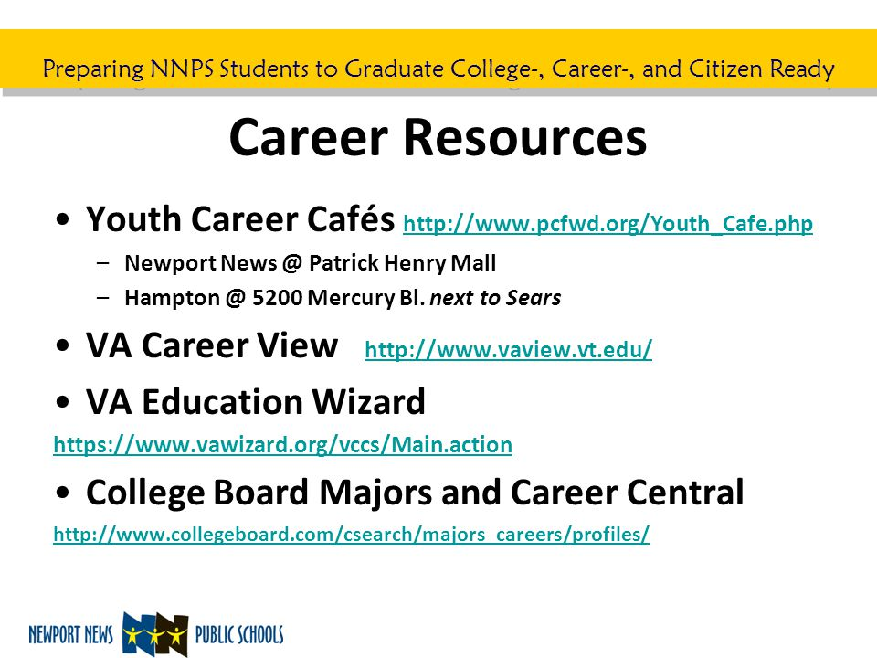 Preparing NNPS Students to Graduate College-, Career-, and Citizen Ready Career Resources Youth Career Cafés http://www.pcfwd.org/Youth_Cafe.php http: