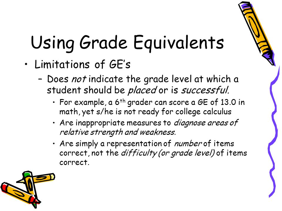 Using Grade Equivalents Limitations of GE's –Does not indicate the grade level at which a student should be placed or is successful. For example, a 6