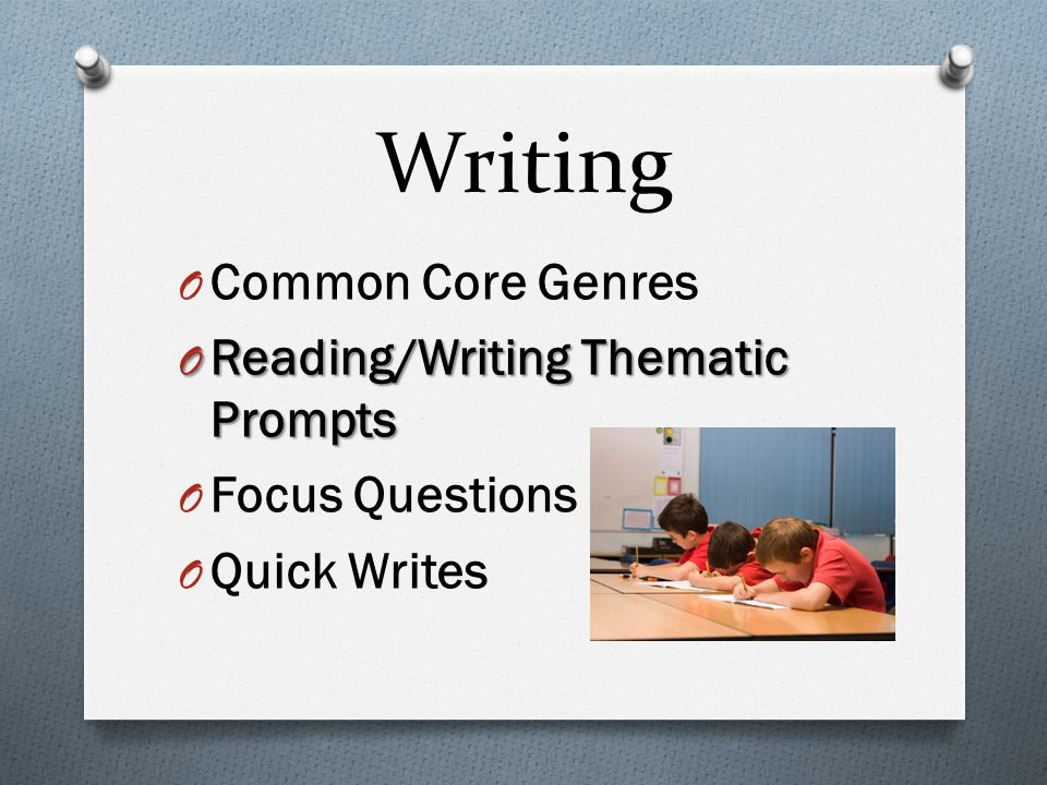 Writing O Common Core Genres O Reading/Writing Thematic Prompts O Focus Questions O Quick Writes